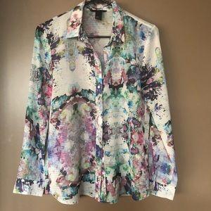 Floral watercolor button down blouse